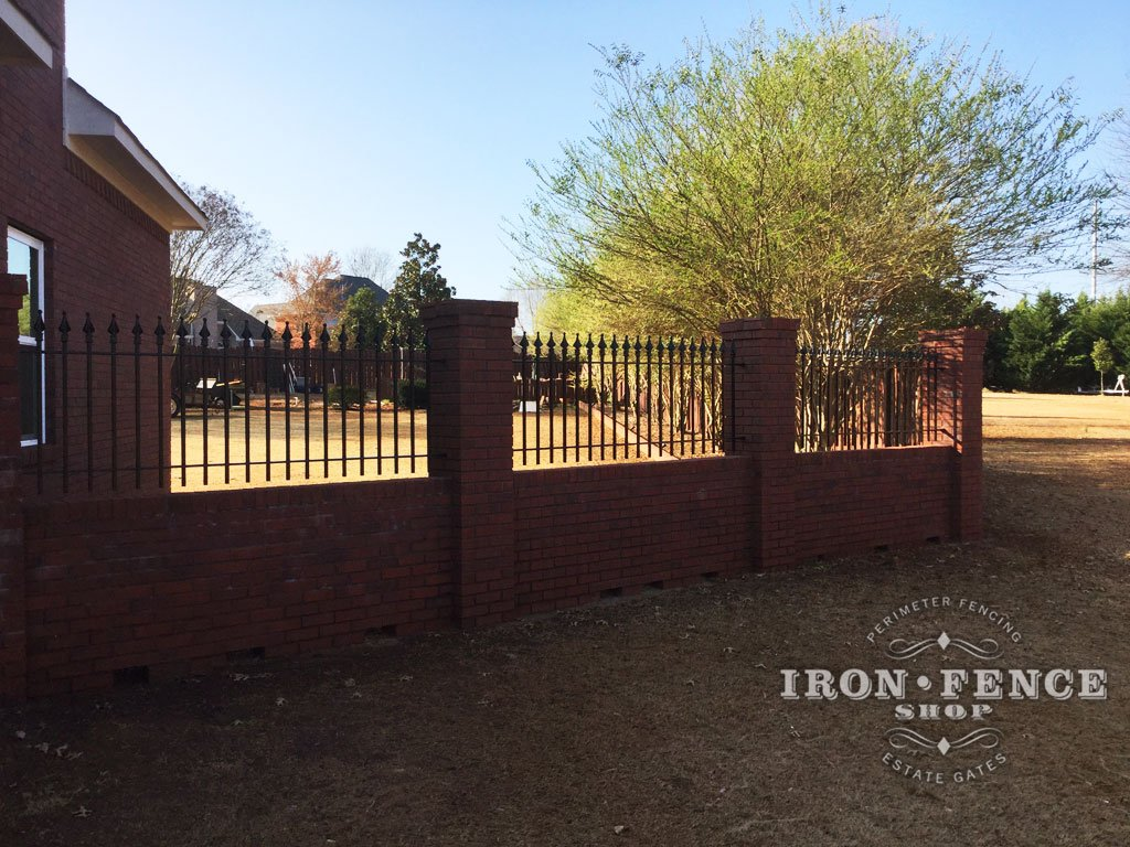 3 Foot Tall Wrought Iron Fence In Signature Grade Mounted