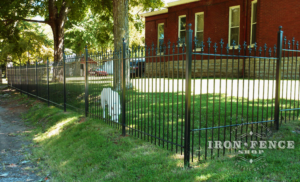 4ft Tall Iron Fence With Custom Star Finials And Staggered