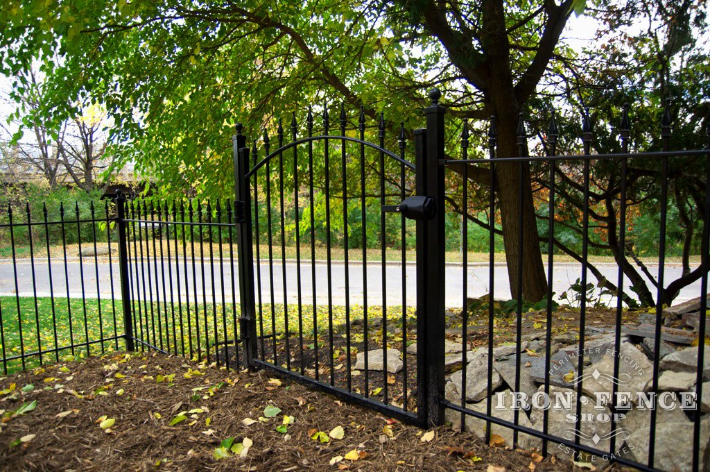 4ft tall x 4ft wide arched traditional grade iron walk gate with fence panels stepped for