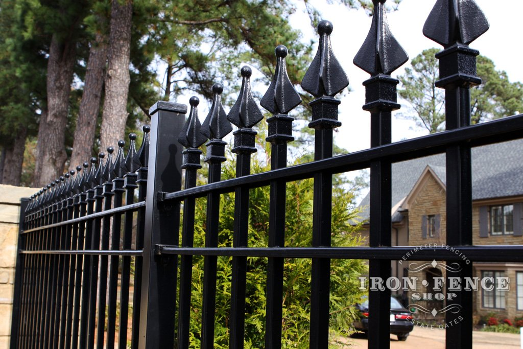 Close Up Shot Of A 6ft Tall Signature Grade Iron Fence Panel Showing The  Solid