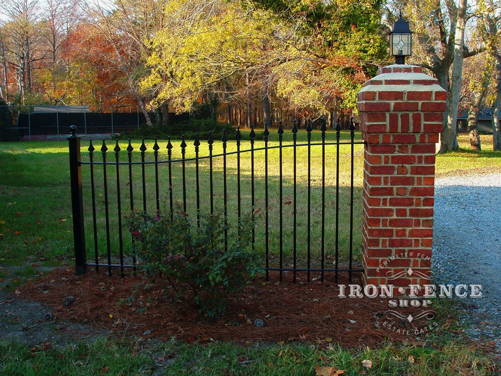 Iron aluminum fence photo gallery iron fence shop for Brick and wrought iron fence designs