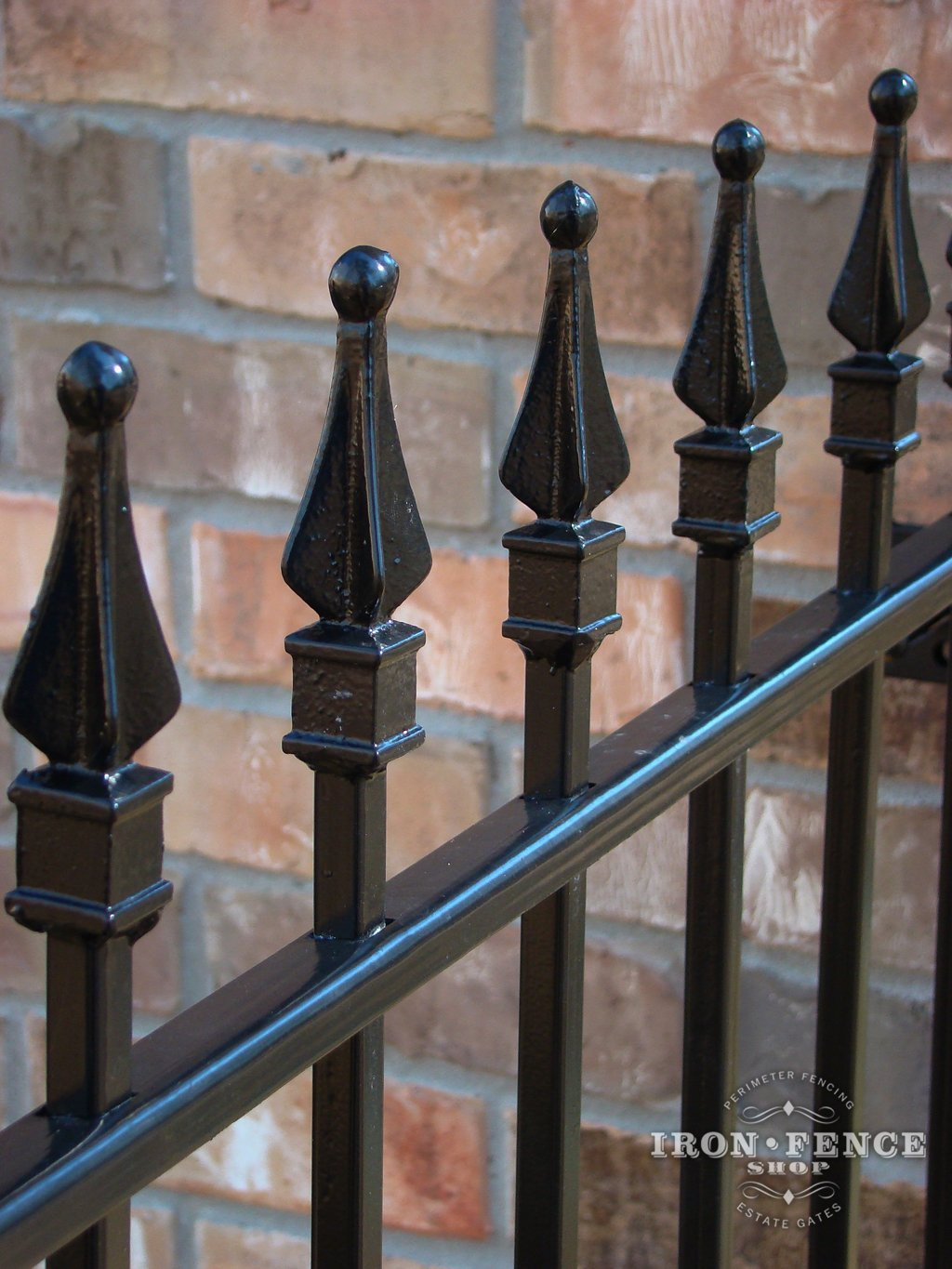 Wrought iron fence iron fence shop closer view of the solid iron welded on finials traditional grade baanklon Gallery