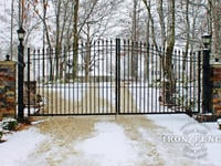 16ft Wide x 6ft to 7ft Arch Height Driveway Gate in Signature Grade Iron - Customer Mounted Post Lights and Decorative Outer Brick Pillars