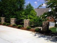3ft Tall Signature Grade Iron Fence Mounted Directly to Stone Columns to Form a Drop-off Barrier (Style #1: Classic)