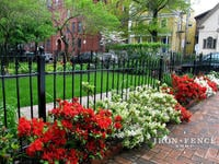 3ft Tall Traditional Grade Iron Fence Used Along Walkway and Flowerbeds (Style #1: Classic)