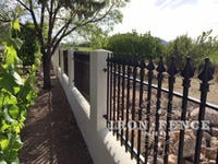 Our 3ft Tall Classic Style Iron Fence Used on a Stucco Knee Wall