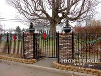 4ft Tall Iron Fence and Arched Gate with Custom Fleur De Lis Finials