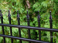 4ft Tall Traditional Grade Aluminum Fence: Close-Up of Welded On Finials (Style #1: Classic)