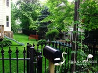 4ft Tall Signature Grade Iron Fence Yard Enclosure with 4x4 Gate by the Mailbox (Style #1: Classic)