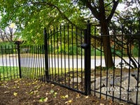 4ft Tall x 4ft Wide Arched Traditional Grade Iron Walk Gate with Fence Panels Stepped for Grade (Style #1: Classic)