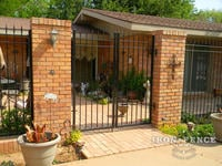 6ft x 8ft Traditional Grade Double Gate Mounted Between Brick Column Entryway to Patio (Style #1: Classic)