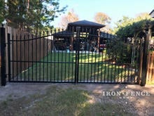 A Classic Style Infinity Aluminum Arched Driveway Gate - 14ft Wide and 5ft Arching to 6ft Tall
