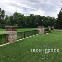 3ft Tall Classic Style Wrought Iron Fence Panels Installed on a Wall Top with Columns