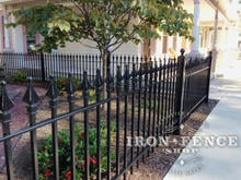 3ft Tall Wrought Iron Fence in Classic Style and Signature Grade Slightly Stepped to Follow Sidewalk Elevation