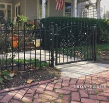 3ft Tall Iron Arched Walk Gate in Classic Style with Guardian and Cape Cod Add-on Decorations