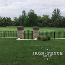 3ft Tall Signature Iron Fence Panels in Classic Style with Custom Gate Installed on a Wall Top