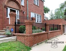 Custom Built 3ft Iron Fence with Extra Rail and to Fit Brick Columns