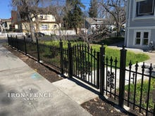 3ft Tall Iron Fence and Arch Gate with Oak Decorations in Classic Style