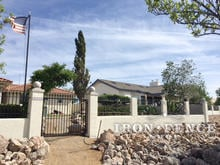Our 3ft Tall Iron Fence and a Matching 5ft Tall Iron Gate Used with a Stucco Knee Wall