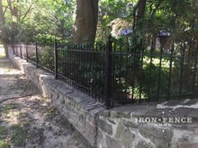 3ft Wrought Iron Fence Installed on a Wall Top with Flange Posts