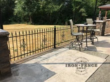 3ft Classic Iron Fence on a Patio with Flange Posts and Guardian Decorations
