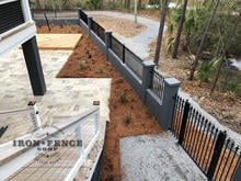 3ft Tall Classic Iron Fence Installed on a Wall Top with Flange Posts