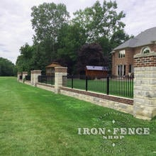 3ft Tall Wrought Iron Fence Panels in Classic Style and Signature Grade Installed on a Knee Wall with Columns