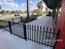 3ft Wrought Iron Fence and Walk Gate Enclosing a Dining Area