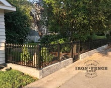 Our 3ft Classic Iron Fence Mounted on a Knee Wall