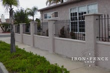 3ft Tall Classic Style Iron Fence with Guardian Decorations on a Wall Top