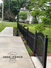 Our 3ft Signature Classic Iron Fence Stair-Stepped to a 4ft Wide Arch Gate