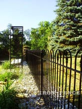 4ft tall iron hoop and picket victorian style fence with arbor