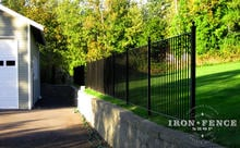 4ft (50in) Tall Pool Style Wrought Iron Fence with Flat Top Used as a Wall Barrier