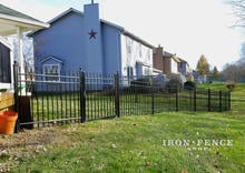 4 Foot Tall Aluminum Fence Racked to Follow Yard Slope/ Grade