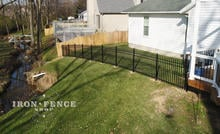 4ft Aluminum Fence in Classic Style Racked to Follow Slope in a Yard