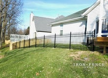4ft Classic Style Aluminum Fence Racked to Follow Yard Slope