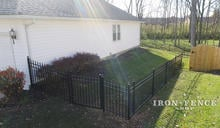 Aluminum Fence Racked to Follow Yard Slope Around a 4ft Wide Walk Gate