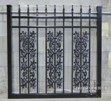 Our 4ft Tall x 4ft Wide Classic Style Infinity Aluminum Gate with Oak Add-on Decorations