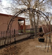 Our 4ft Traditional Grade Iron Fence Used with a Customer's Arch