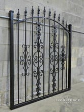 Our Classic Style 4ft Arched Gate in Stronghold Iron with a Guardian, Cape Cod and Butterfly Add-on Decorations