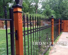 4ft Tall Iron Fence with Cast Decorations on Stained Wood 4x4 Posts