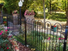 4 foot tall hoop and picket iron fence panel in traditional grade