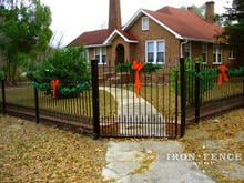 5ft Tall x 4ft wide Stronghold Iron Traditional grade walk gate with 4ft tall matching fence panels
