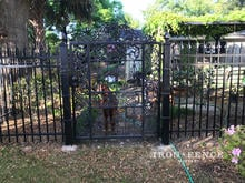 Our 4ft Classic Aluminum Fence Used to Complement a Customer Supplied Custom Gate