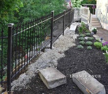 Our 4ft Tall Signature Grade Classic Iron Fence Installed along a Side Yard