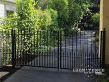 4ft Tall x 10ft Wide Wrought Iron Double Gate in Puppy Picket Style