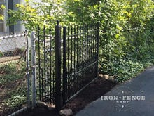 A 4ft Tall x 5ft Wide Gate Leaf in Stronghold Iron and Puppy Picket Style