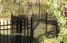 Aluminum Fence Curved and Angled Around a Backyard (5ft Classic Style in Traditional Grade)