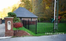 5ft Signature Grade Wrought Iron Fence with 8ft Double Gate in Line