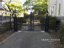 Our 5ft Classic Aluminum Fence Used to Complement a Customer Supplied Custom Gate